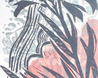 Crocosmia original linocut print