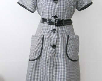 Vintage Cotton Day Dress Large • Mid Century Black and White Short Sleeve Dress • Black Gingham Check Top Mode Frocks Cotton Dress