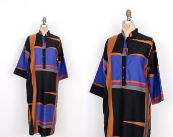 Vintage 1980s Dress / 80s Catherine Ogust Cotton Tunic / Black and Purple (S M L)
