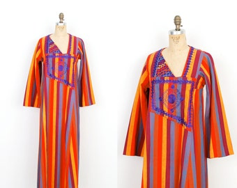 Vintage 1970s Dress / 70s Embroidered Striped Caftan / Red and Blue (S M L)