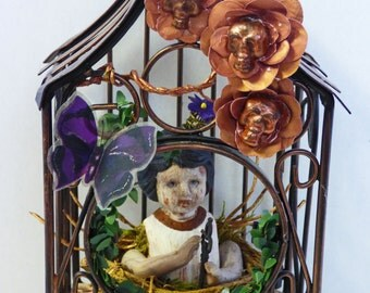 Altered Doll Assemblage - Creepy Doll Art - Bird Cage Assemblage - Assemblage Art Doll