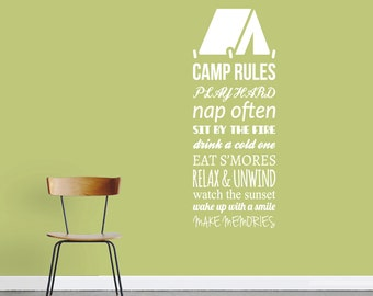Camp Rules - Sports Man Cave Quotes Wall Decals