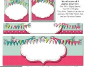 DIY Blank Etsy Banner Set - Party Pink Bunting- Customize for Your Store - Facebook and Etsy Blank Template Graphics