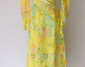 Vintage 1960s Yellow Chiffon and Velveteen Floral Dress