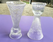 Glass Candle Holders, Hearts and Diamonds Avon Collectible Candlestick Holders, Reversible Small Glass Vases, Fostoria Glass Candle Holders