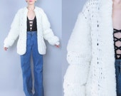 1980s Chunky Knit Cardigan Textured Sweater Coat Monster Shaggy Sweater Slouchy Oversize Cardigan Avant Garde Knitted Jumper (L/XL)