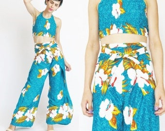 Vintage 90s Halter Top and Wide Leg Pants Set Hawaiian Jumpsuit Matching Two Piece Outfit Teal Summer Vacation High Waist Wrap Pants (S/M)