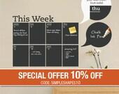 Weekly Planner Chalkboard Calendar - Modern Vinyl Wall Decal