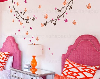 Butterfly Wall Decal, Butterfly Branches Wall Decal, Crib Wall Decals, Baby Nursery Decals, Nursery Wall Stickers, Girls Nursery