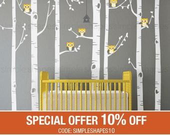 Birch Tree Wall Decal, Birch Tree With Owls Wall Sticker Set, Birch Tree Decal, Baby Nursery Wall Stickers W1112