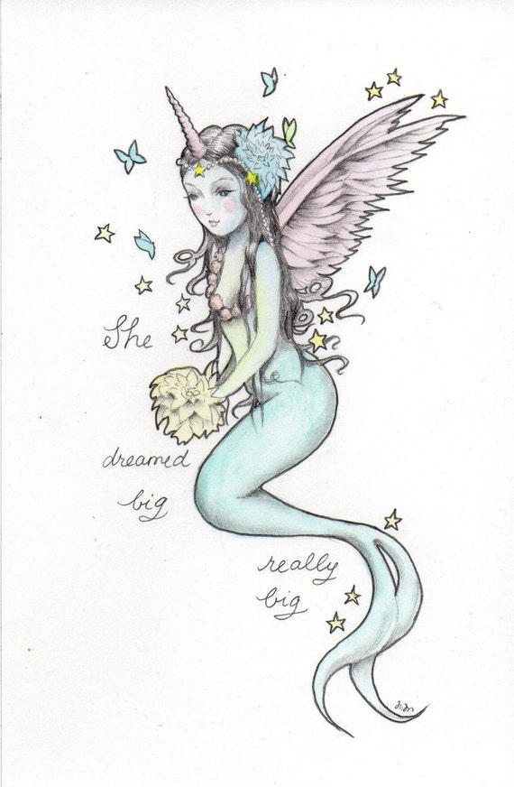 Dream Big Unicorn Mermaid Fairy Queen Mini Art Print