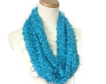 Blue Cowl, Knit Scarf, Neck Warmer, Infinity Scarf, Knit Cowl, Hand Knit Scarf