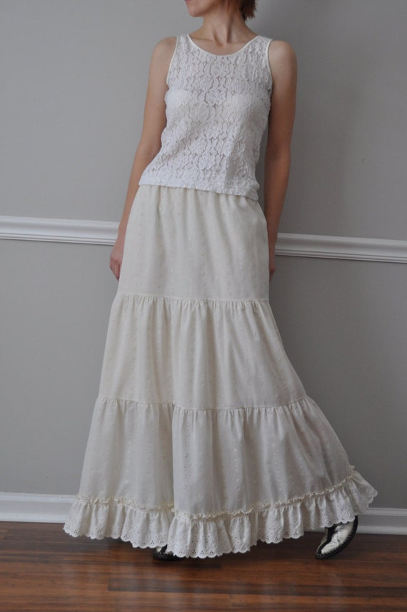 Ivory Cotton Embroidered Scalloped Eyelet Tiered Petticoat Crinoline Slip. Skirt. Romantic Wedding. Bridesmaid  XS-L