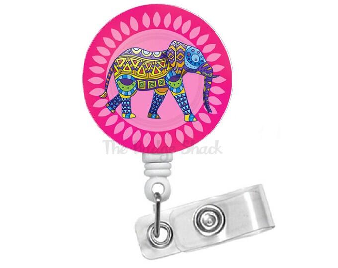 "Elephant Pink 1.5"" Badge Holder - ID Badge Reel - Zoologist Badge - Nursing Badge - School Badge Reel - Office Staff Badge - Animal Badge"
