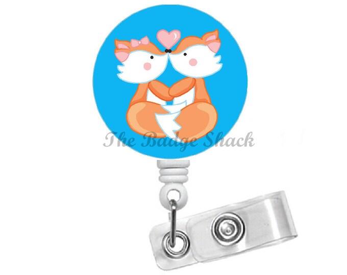 Fox Love Badge Holder - ID Badge Reel - Badge Holders - Nursing Badge - School Badge Reel - Office Staff Badge - Animal Badge - Valentine ID
