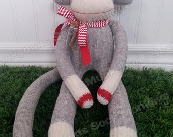 Secret Message In A Bottle Sock Monkey