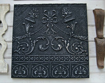 Vintage Ceiling Tin Tile. Antique Oklahoma Architectural salvage Wall Hanging. Pressed Tin. Black wall decor. Large Wall Art.