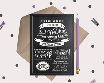 Chalkboard Bridal Shower Invitations - Typography Wedding Shower Invitations