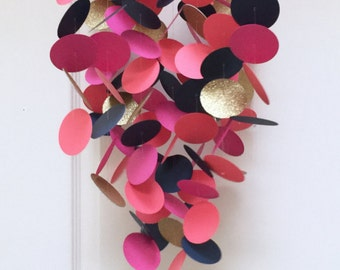 Coral, Gold, Hot Pink and Navy Blue Baby Mobile, Paper Mobile, Modern Baby Mobile, Crib mobile, Nursery Decor, Baby Gifts, Baby Shower