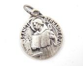 Vintage French Saint Bernard of Clairvaux Catholic Medal - Candle Maker Saint - KARO Signed Religious Charm - R55