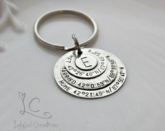 Custom Coordinates Key Chain, GPS Coordinates Keychain, Latitude Longitude Keychain, Hand Stamped Keychain, Personalized Coordinates Gift