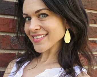 Leather Earrings - Leather Teardrop Earrings - Metallic Leather Earrings - Turquoise Leather Earrings