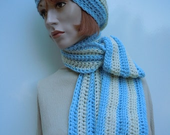 Hat and Scarf Set, Soft Blue and White Hat and Scarf, Crocheted Hat and Scarf, Womens Hat and Scarf