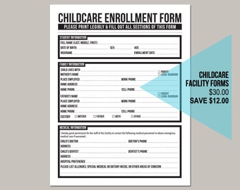 the childcare center pack: set of five forms for daycare