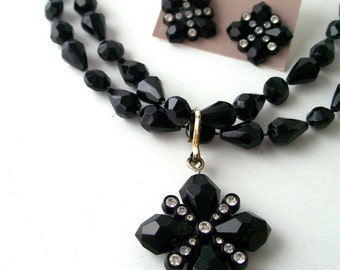 vintage necklace earring set beaded black diamond cut rhinestone avon fashion jewelry accessories accessory womens ladies