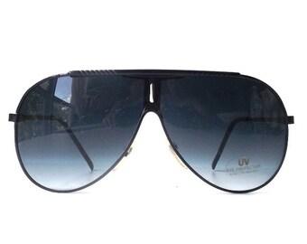 vintage 1980's NOS black metal aviator sunglasses frames grey gray lenses sun glasses eyewear accessories modern retro men women oversized