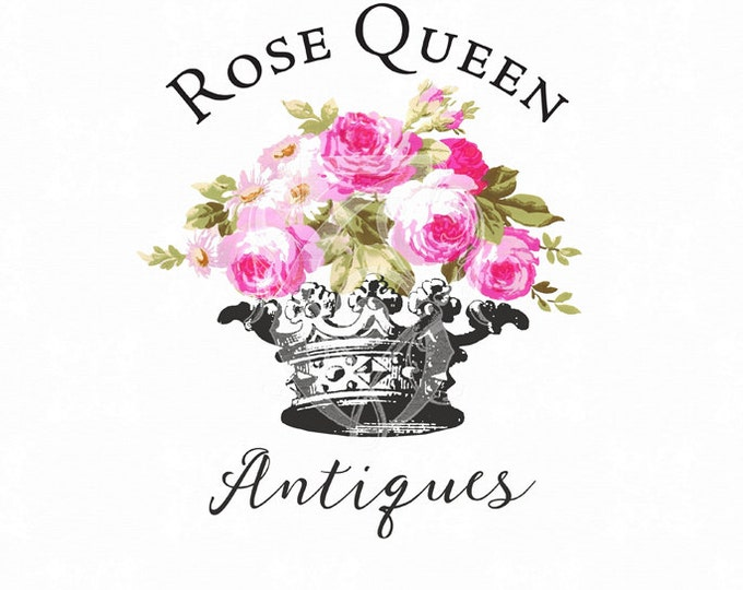 Premade Logo Rose Queen Crown Pink Roses