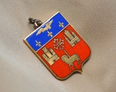 Vintage French Heraldic Royal Coat of Arms Gold Red Blue Medal Shield Pendant