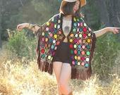 Free Size... 1970s Crochet Shawl... Colorful Bohemian Weekender Wear