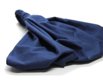 Navy Blue Headscarf Modest Headcovering Solid Head Scarf Hair Loss Headband Alopecia Hair Scarf Extra Wide Headband (#2606) S M L X