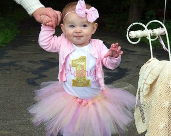 Girls First Birthday Outfits - First Birthday Outfits - First Birthday Shirt - Pink and Gold First Birthday