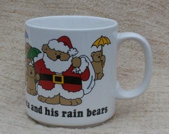 Holiday Greetings from Santa and his rain bears  Russ Berrie Vintage Coffee Mug