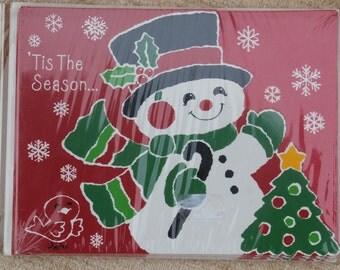 Vintage Hallmark Happy Snowman Invitations, 8 Cards, Christmas Party