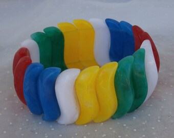 Vintage Primary Colors Stretch Bracelet, Chunky Clunky Colorful S Curve