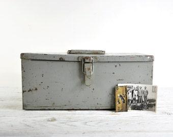 Rustic Toolbox, Industrial Metal Tool box, Tool Storage Box, Industrial Storage