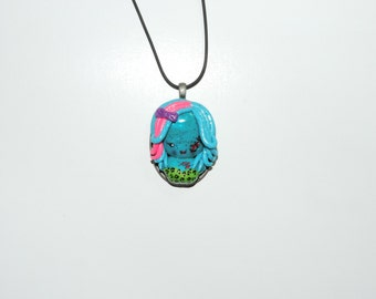 CLEARANCE half off Zombie girl cameo necklace. walking dead, living dead girl, rainbow hair, hair bows, skulls, stitches, cute, glitter