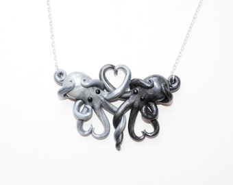 Made to order Intertwined Octopi in love Necklace,  silver and gunmetal, octopus love, gift,