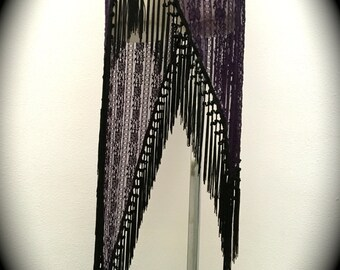 The Purple Lace Asymmetrical Willow Skirt with Long Black Fringe Trim (Adjustable, sizes XS-XL)