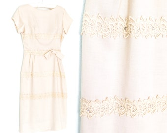 Vintage 60s Dress * 1960s Shift Dress * Lace Rhinestones Dress *  Small