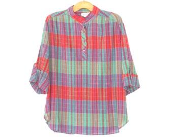 Vintage 80s Blouse * Plaid Shirt * Madras Blouse * Tabbed Sleeve Henley * Medium / Large