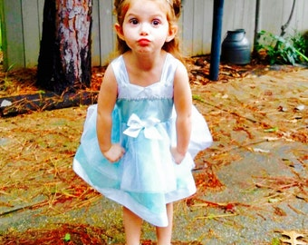 Cinderella Dress: blue & white Tutu Dress, Princess Birthday Party, princess dinner, Wrap Around Easy on and off Dress, vacation, parks trip