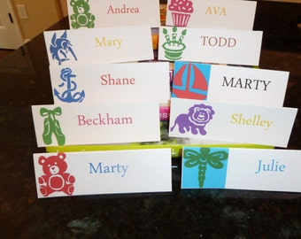 Custom Table Place Cards/ Food Tent Cards/ Seating Cards -  Made to Match Custom Paper Napkins - Set of 6