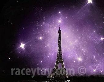 Eiffel Tower Print, Purple, Black, Paris Skyline, Starry Night Sky, Celestial, Paris Photography, Fantasy