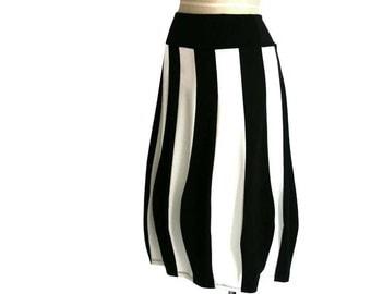 Striped skirt, Long skirt, Jersey skirt, Plus size skirt, Tulip skirt, Maternity skirt, Black skirt, Wide waist, Womens skirt, Made to order
