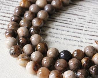8mm Round Gemstone - Mala Bead Supply - Jewelry Making Supplies - 8mm Round Wood Opalite - Choose Amount