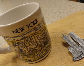 Vintage World Trade Center 9-11 Memorabilia 1980s cup and pin